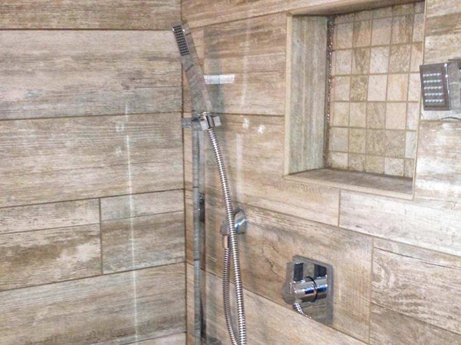 Modern Simulated Wood Tile Plank Bathroom