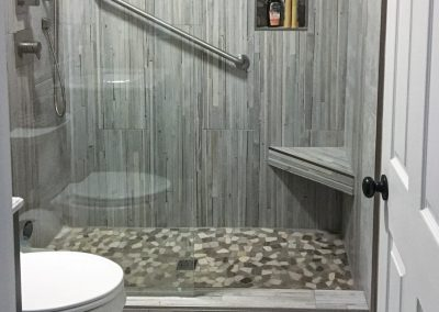 "Stylish ""Grey-Tone & Texture"" Guest Bath"