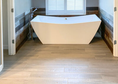 Master Bath Wainscoting trimmed in Reclaimed Barnwood