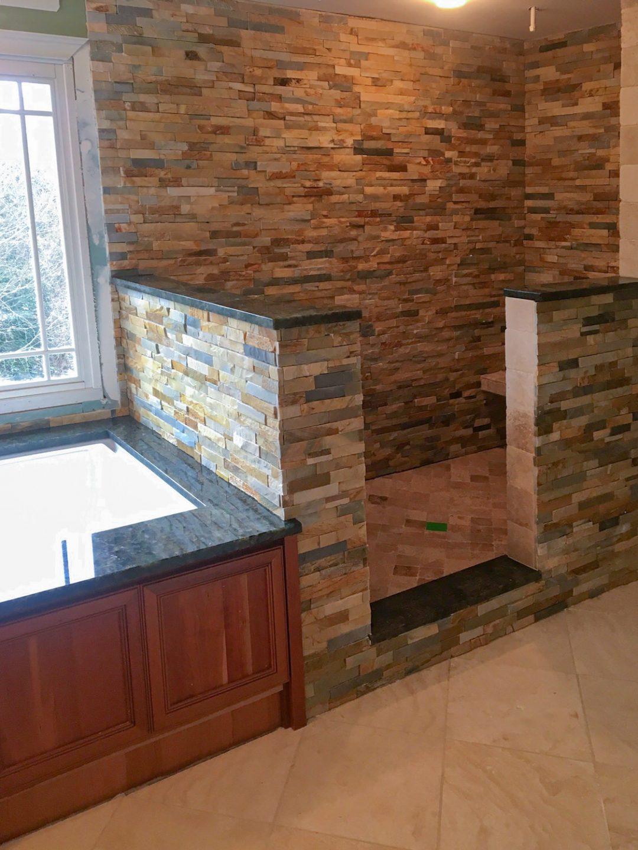 Natural Slate & Stone Master Bath